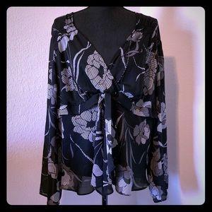 Lane Bryant v neck sheer flora blouse 14/16
